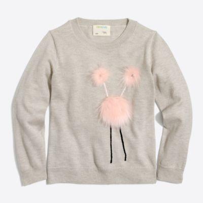Girls' monster intarsia popover sweater   sale