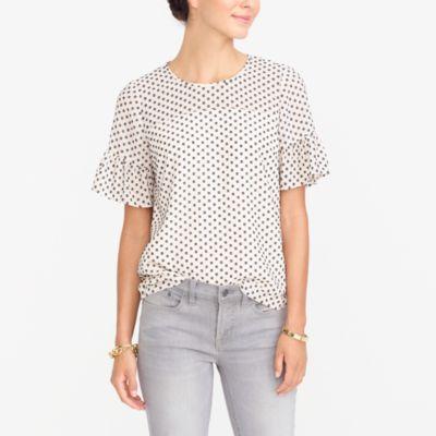 Drapey ruffle-sleeve T-shirt