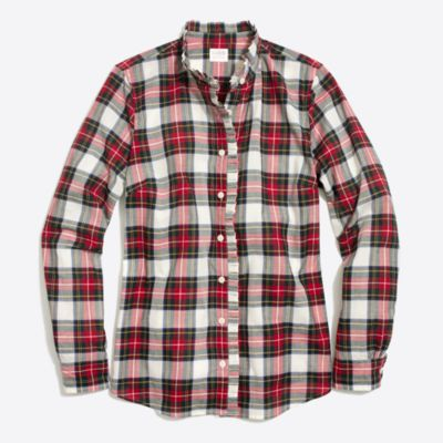 Ruffle-front plaid shirt   search