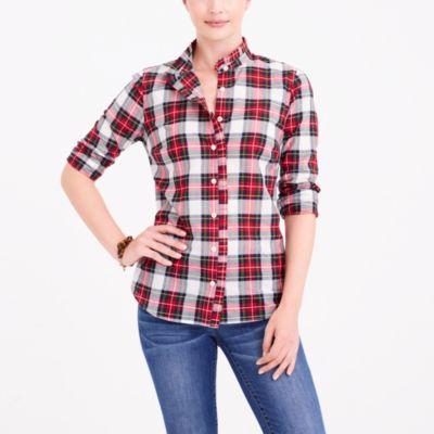 Ruffle-front plaid shirt