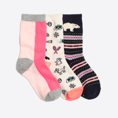 Girls' polar bear sock three-pack