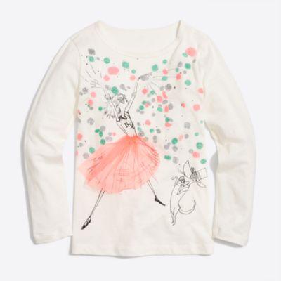 Girls' long-sleeve olive party keepsake T-shirt   sale