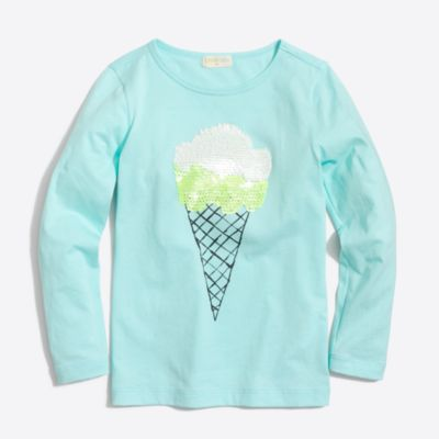 Girls' long-sleeve sequin ice cream keepsake T-shirt factorygirls shirts, t-shirts & tops c
