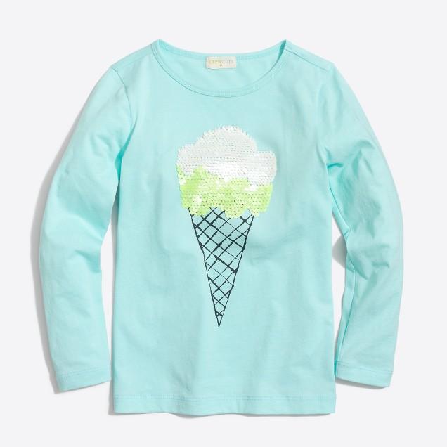 Girls' long-sleeve sequin ice cream keepsake T-shirt