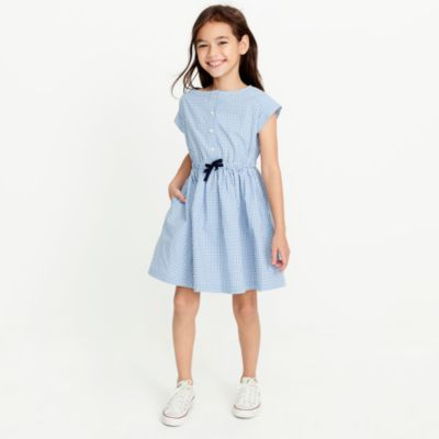 Girls' short-sleeve gingham shirt dress factorygirls dresses c
