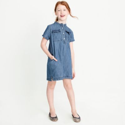 Girls' short-sleeve chambray utility dress factorygirls dresses c