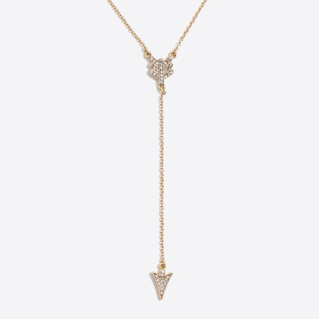 Pavé arrowhead Y necklace