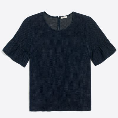 Indigo dot ruffle-sleeve top factorywomen new arrivals c