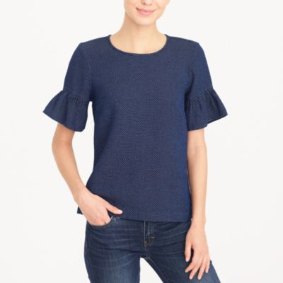 Indigo dot ruffle-sleeve top factorywomen shirts & tops c