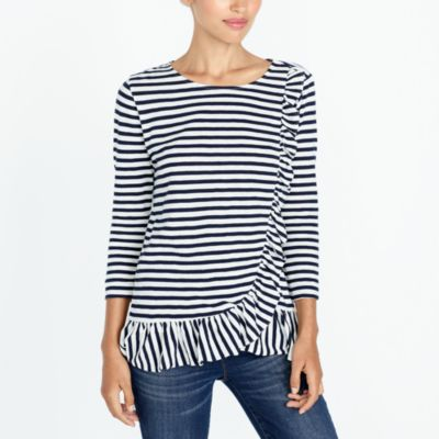 Asymmetrical ruffle-front top factorywomen new arrivals c