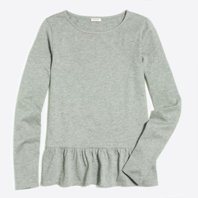 Long-sleeve ruffle hem T-shirt factorywomen knits & t-shirts c