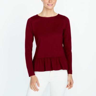 Long-sleeve ruffle hem T-shirt factorywomen new arrivals c