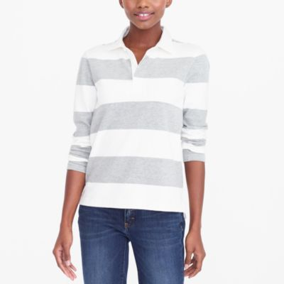 Long-sleeve rugby stripe polo factorywomen knits & t-shirts c