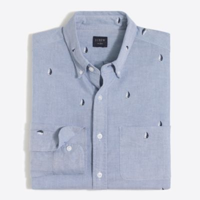 Slim flex printed oxford shirt factorymen new arrivals c