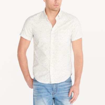 Short-sleeve marled cotton shirt factorymen new arrivals c