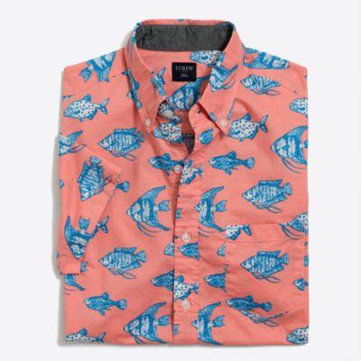 Slim short-sleeve printed shirt factorymen new arrivals c