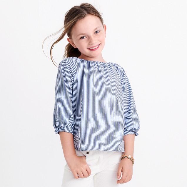 Girls' striped tie-sleeve top