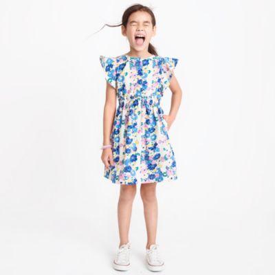 Girls' floral printed flutter-sleeve dress factorygirls dresses c