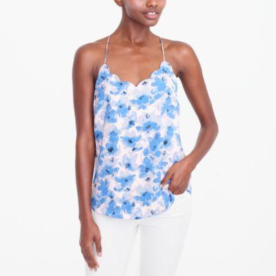 Printed scalloped cami top factorywomen shirts & tops c
