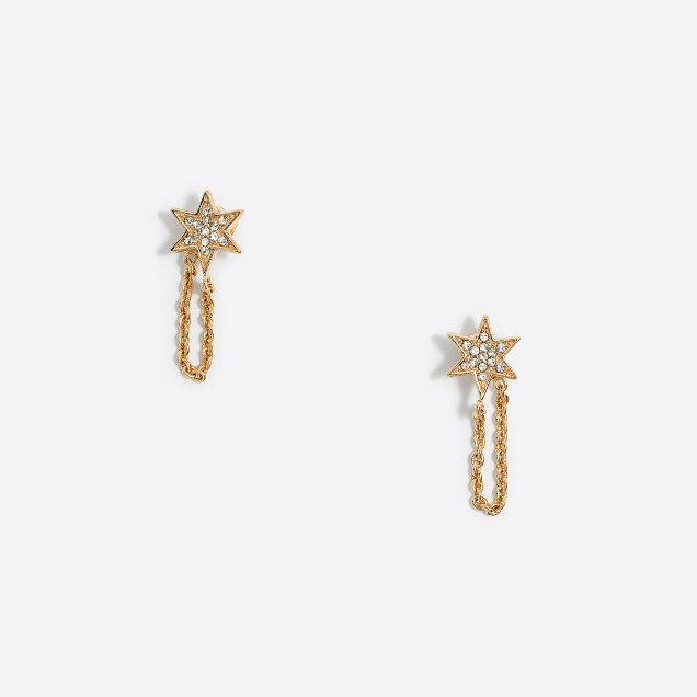 Crystal star chain earrings