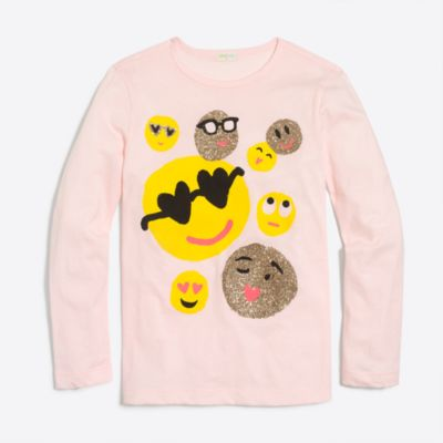 Girls' long-sleeve emoji keepsake T-shirt factorygirls shirts, t-shirts & tops c