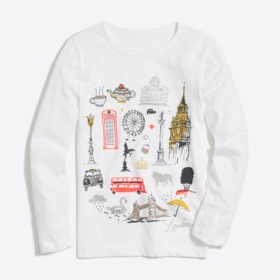 Girls' long-sleeve london keepsake T-shirt factorygirls new arrivals c
