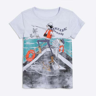 Girls' short-sleeve olive boat scene keepsake T-shirt factorygirls new arrivals c