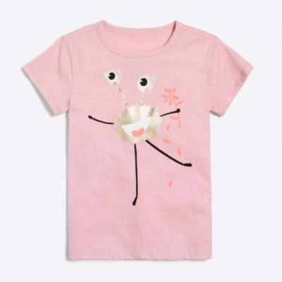 Girls' short-sleeve monster with flowers keepsake T-shirt factorygirls shirts, t-shirts & tops c