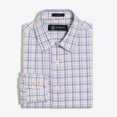 Boys' patterned flex Thompson point-collar dress shirt factoryboys shirts c