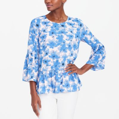Printed bell-sleeve top factorywomen the score: bell-sleeve peplum tops and scalloped tops c