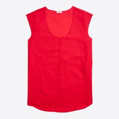 Cap-sleeve shirttail top factorywomen new arrivals c