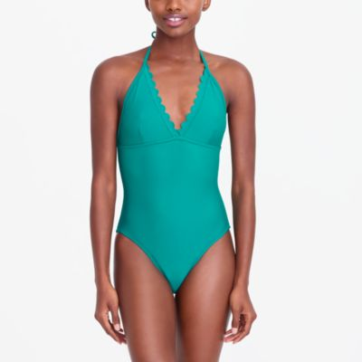 scalloped plunge v-neck one-piece swimsuit : factorywomen one-piece swimsuits