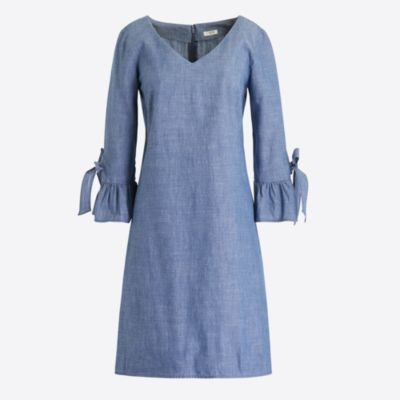 Chambray ruffle tie-sleeve dress   search