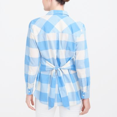 Tie-waist button-down shirt factorywomen new arrivals c