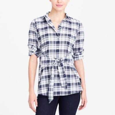 Tie-waist button-down shirt factorywomen shirts & tops c