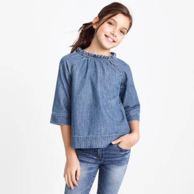 Girls' chambray ruffle-neck top factorygirls shirts, t-shirts & tops c