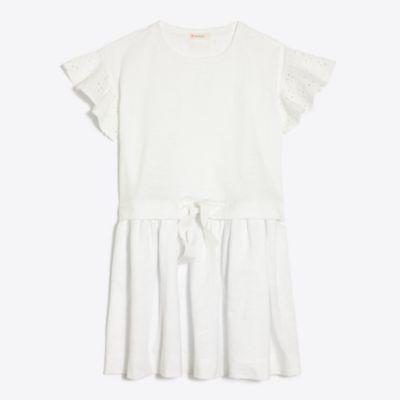 Girls' eyelet flutter-sleeve dress   search