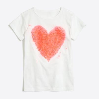 Girls' sequin heart keepsake T-shirt factorygirls shirts, t-shirts & tops c