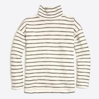 Striped long-sleeve mock-neck pullover