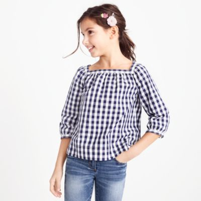 Girls' gingham peasant top factorygirls shirts, t-shirts & tops c