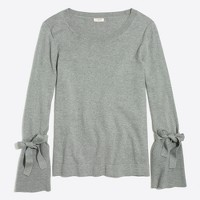 Tie bell-sleeve sweater