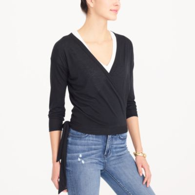 Tie-front wrap T-shirt factorywomen knits & t-shirts c