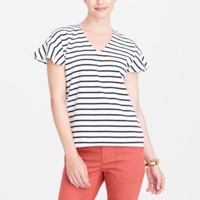 Striped flutter-sleeve V-neck T-shirt factorywomen knits & t-shirts c