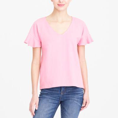 Flutter-sleeve V-neck T-shirt factorywomen knits & t-shirts c