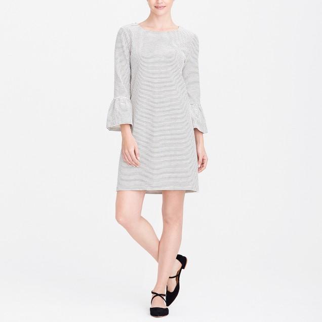 Striped ruffle-sleeve dress