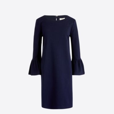 Solid ruffle-sleeve dress factorywomen new arrivals c