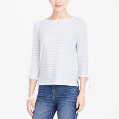 Striped tie-sleeve T-shirt factorywomen knits & t-shirts c