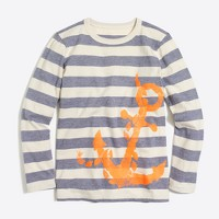 Boys' long-sleeve stripe with anchor storybook T-shirt