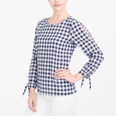 Bow-sleeve peekaboo blouse factorywomen shirts & tops c