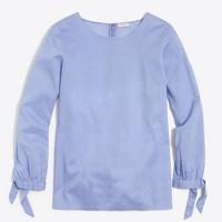 Bow-sleeve peekaboo blouse